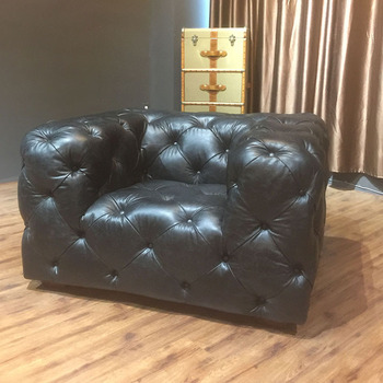 Scandinavian Style Design Vintage Leather Sofa With Buttons