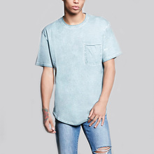 2017 spring casual bulk blank mens t shirt scoop neck chest pocket longline t shirts