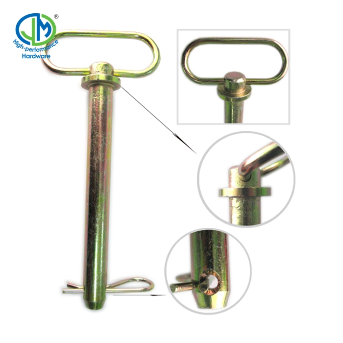carbon steel yellow zinc plated tractor hitch pin