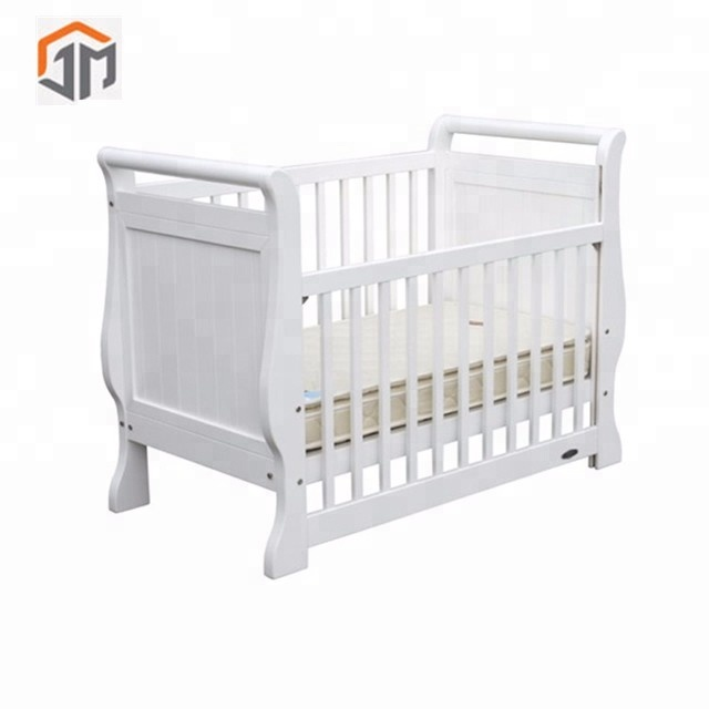 Antique White Solid Wood Baby Crib Bed