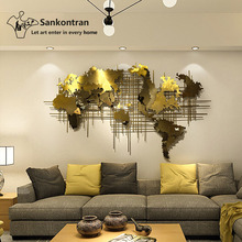 2019 New Design Living Room Home Decoration Handmade 3D Large Stainless Steel Map of World Metal Wall Decor