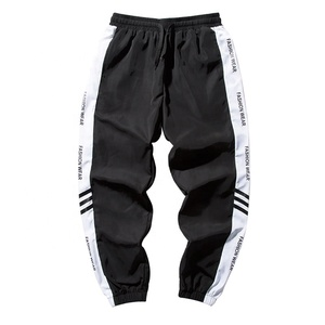 Men customized logo fashion pants multicolor strips hip hop street wear men casual long trousers pants