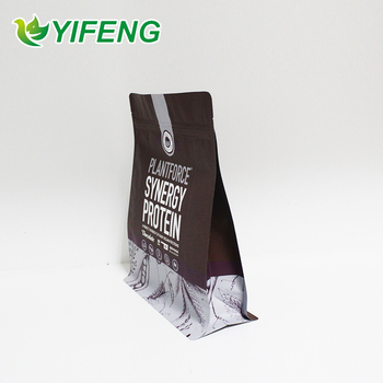 Factory Price Stand Up Flat Bottom Whey Protein Powder Pouch / Customized Zip Bags For Packaging Powder Products