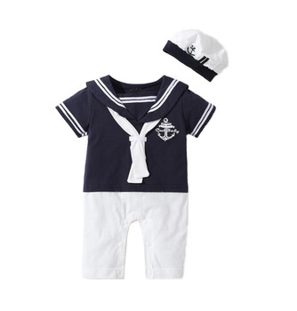 New Arrival Summer Turn-Down Collar Navy Sailor Cotton Baby Boy Romper