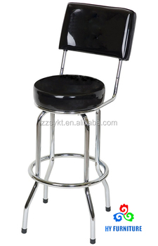Swivel Metal Chrome Legs Round Leather Padded Seat Bar Stools With Back