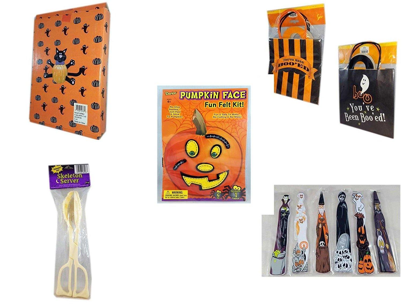 "Halloween Fun Gift Bundle [5 piece] - Halloween Cat Pumpkin Push In 5 Piece Head Arms Legs - Halloween ""You've Been Boo'ed"" Boo Kit - Darice Pumpkin Face Fun Felt Kit - Stitches - Skeleton Server"
