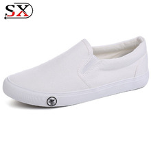 2018 Wholesale China Manufacturer Plain Sneakers Men White Canvas Shoes
