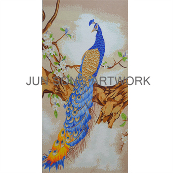 Mam Pc03 Hand Made Peacock Mural Mosaic Glass Painting Pictures