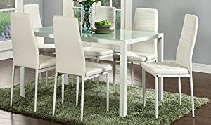 IDS Home 7 Piece Glass Top Dining Set, 6 Person Dining Table And Chairs Set