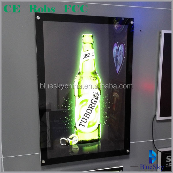Customized Led acrylic crystal picture frame light box advertisement