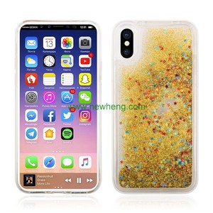 Free Sample Glitter Stars quicksand Hard PC+TPU phone cover For iPhone X