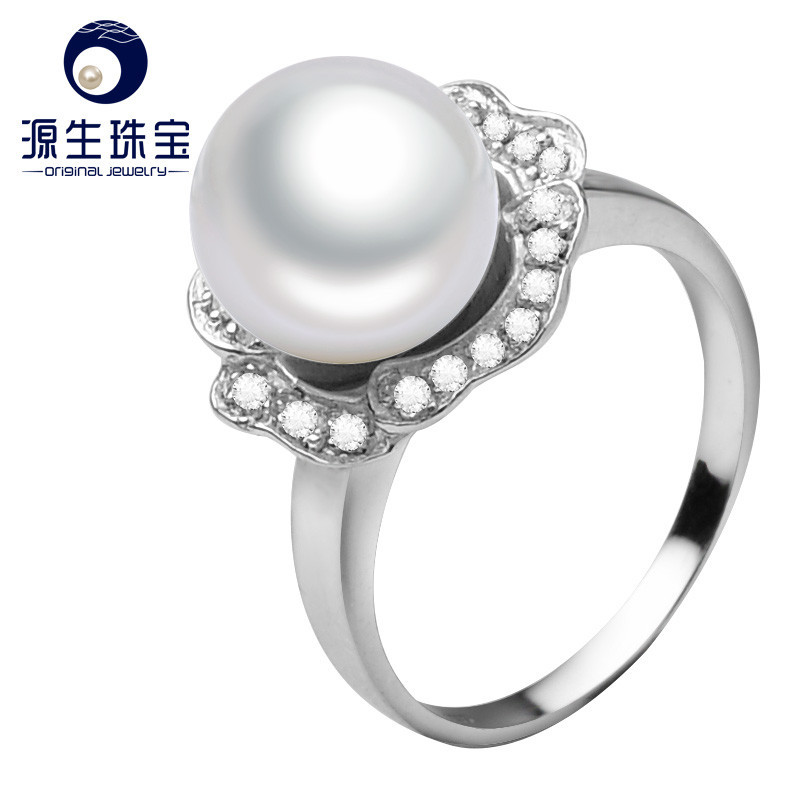 925 Sterling Silver 9-10mm AAA Natural freshwater pearl Ring for Women
