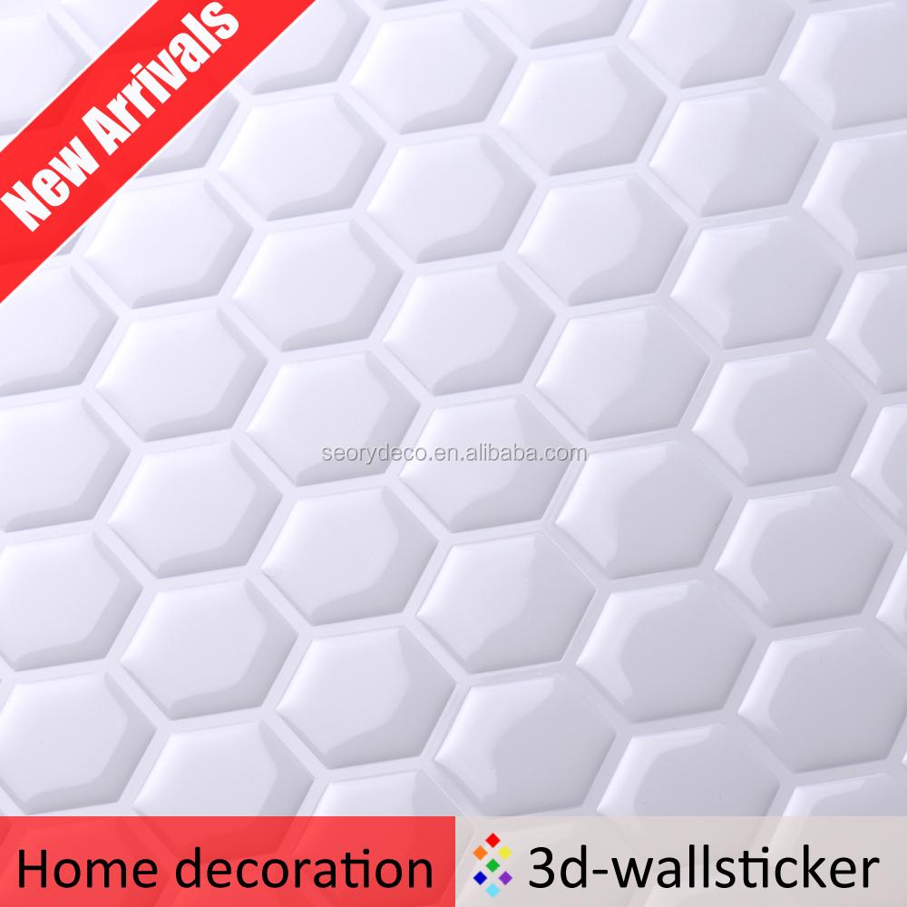 Nieuwe aankomst zeshoek mozaïek ontwerp wanddecoratie sticker voor ...