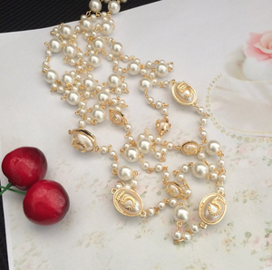Factory wholesale number 5 pendant pearl necklace