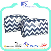 Chevron printed satin makeup travel cosmetic bag with metal plate