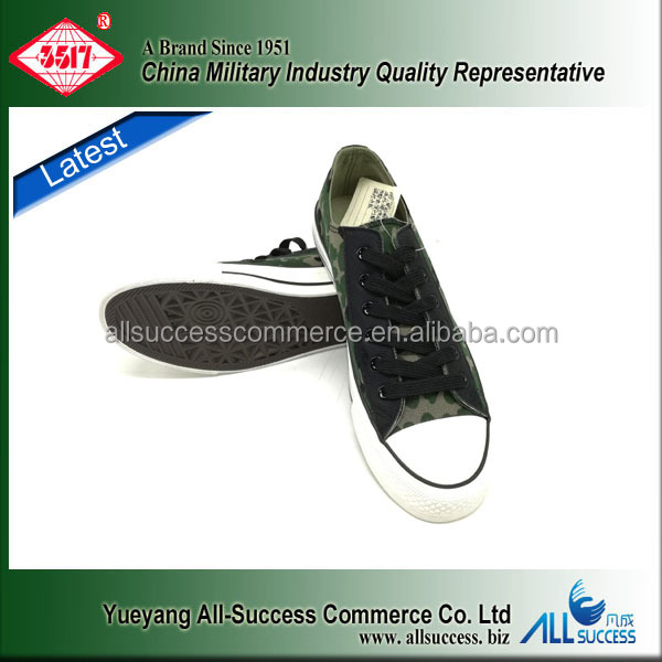 Hot sale camouflage low cut ATY canvas upper and rubber sole school students military training shoes