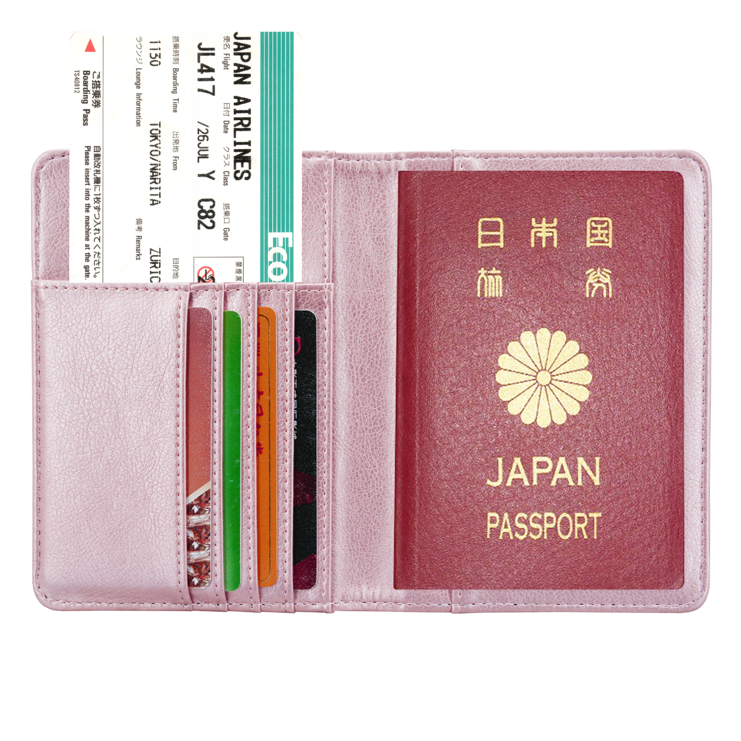 Custom Personalized Leather Travel Case Rfid Blocking, for Passport Holder with Business Card, Credit Card, Rose gold