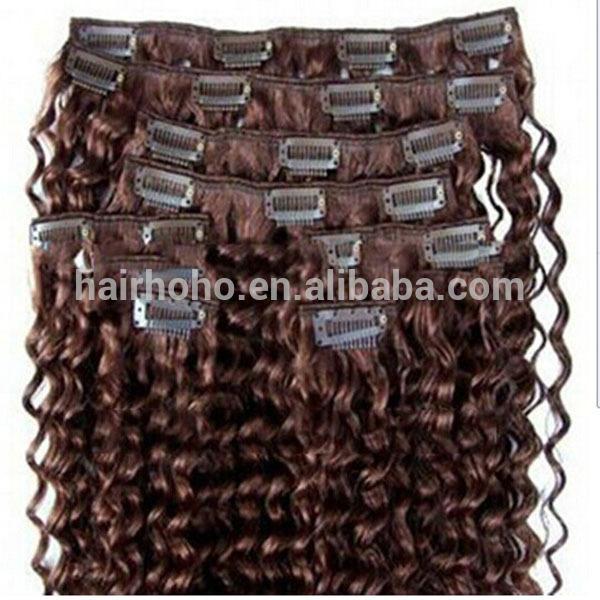 Top quality re,u mongolian kinky curly clip in hair extension
