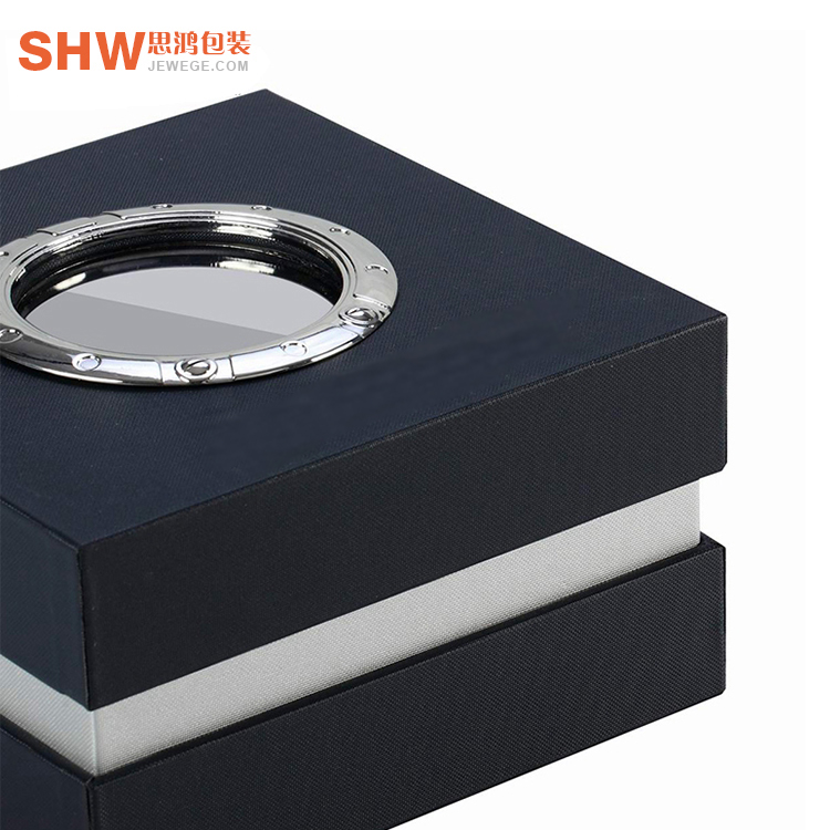 China factory price FSC specialty paper watch packaging box custom logo printing watch paper box with round window