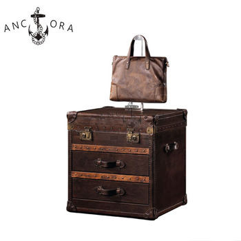 European style retro drawer trunk/Antique leather small storage chest L808