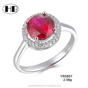 Crystal 5ct Diamond-Cut Ruby Valentine's Day Gift Ring ,big stone ring designs for women