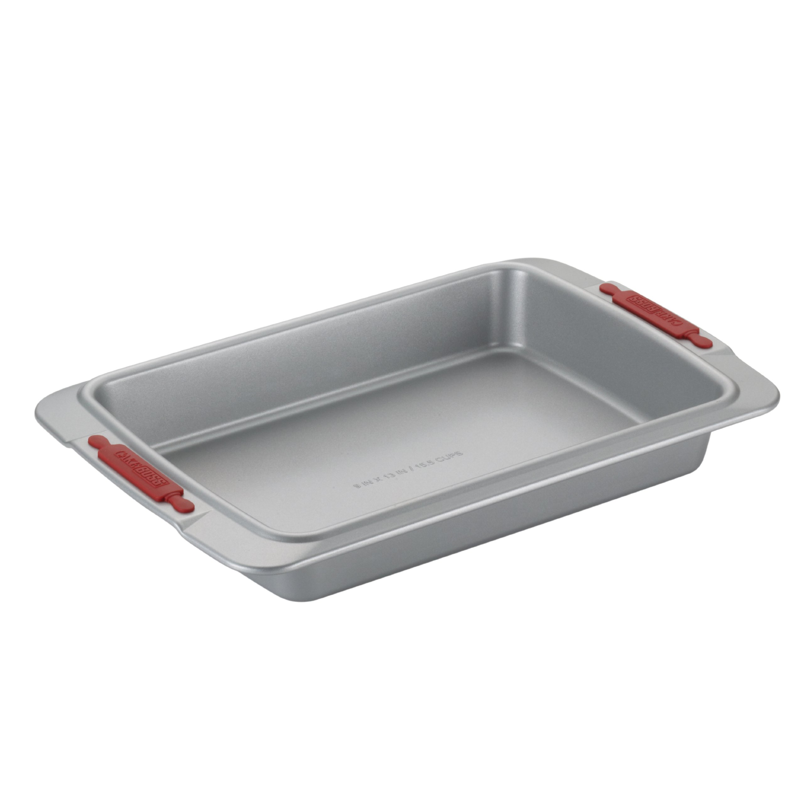 Cake Boss Deluxe Nonstick Bakeware 9-Inch by 13-Inch Cake Pan, Gray with Red Silicone Grips