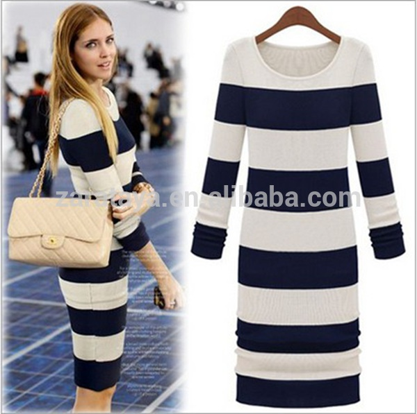2014 long sleeves casual bodycon women dress cotton strip dress with stretch