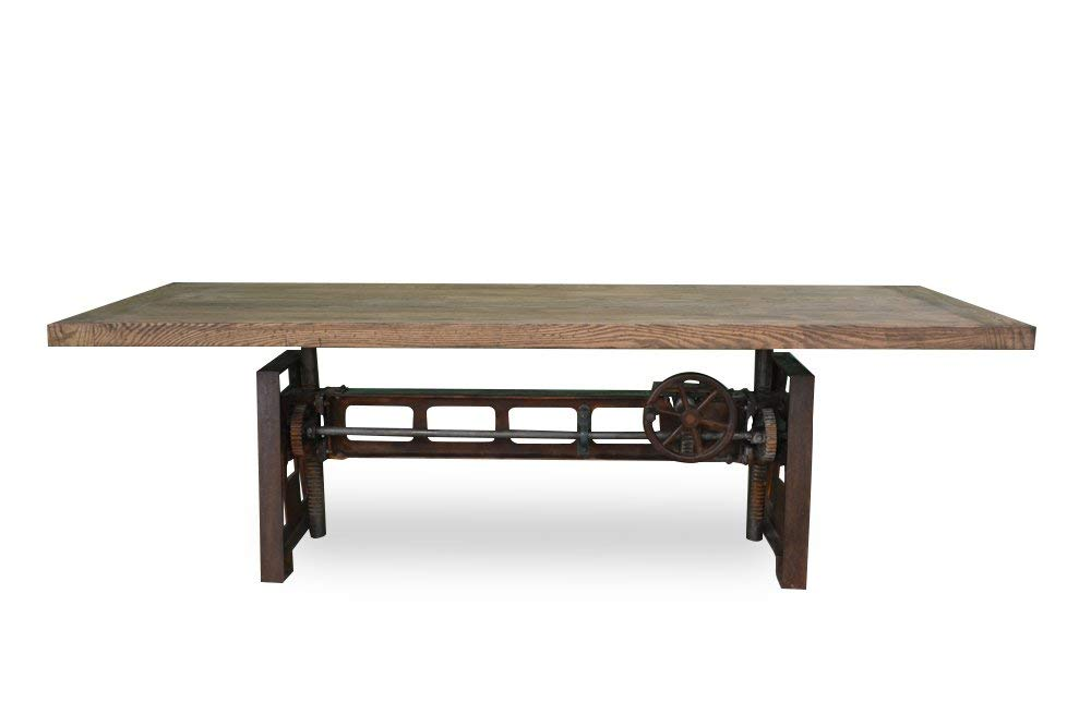 Industrial Wood + Metal Yorkshire Industrial Cast Iron Crank Dining Table, 84-Inch Reclaimed White Oak Top, Charcoal Base