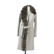 New design woolen lady overcoat women fox fur coat for germany