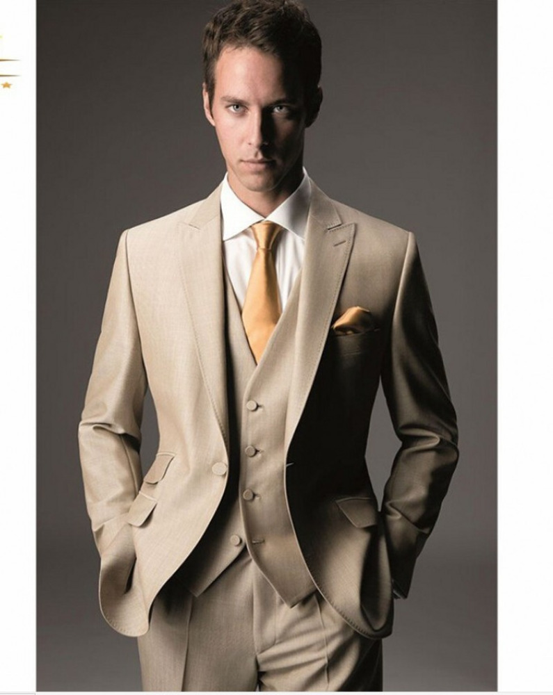 Males Suit For Man One Button Formal Wearing Customized Groom Wedding Tuxedos (Jacket+Pants+Vest) WB066 Beige Men Suits