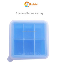 manufacturer custom Cheap food grade single color silicone soft ice cube tray, 6 cubes blue
