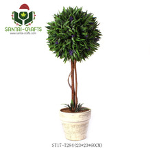 Hot Selling Artificial Tree in Pot, Green and Purple Flowers