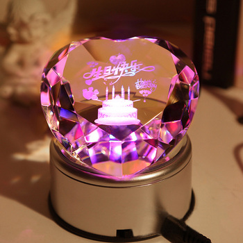 Beautiful heart shape  crystal  diamond  with led base for wedding gift