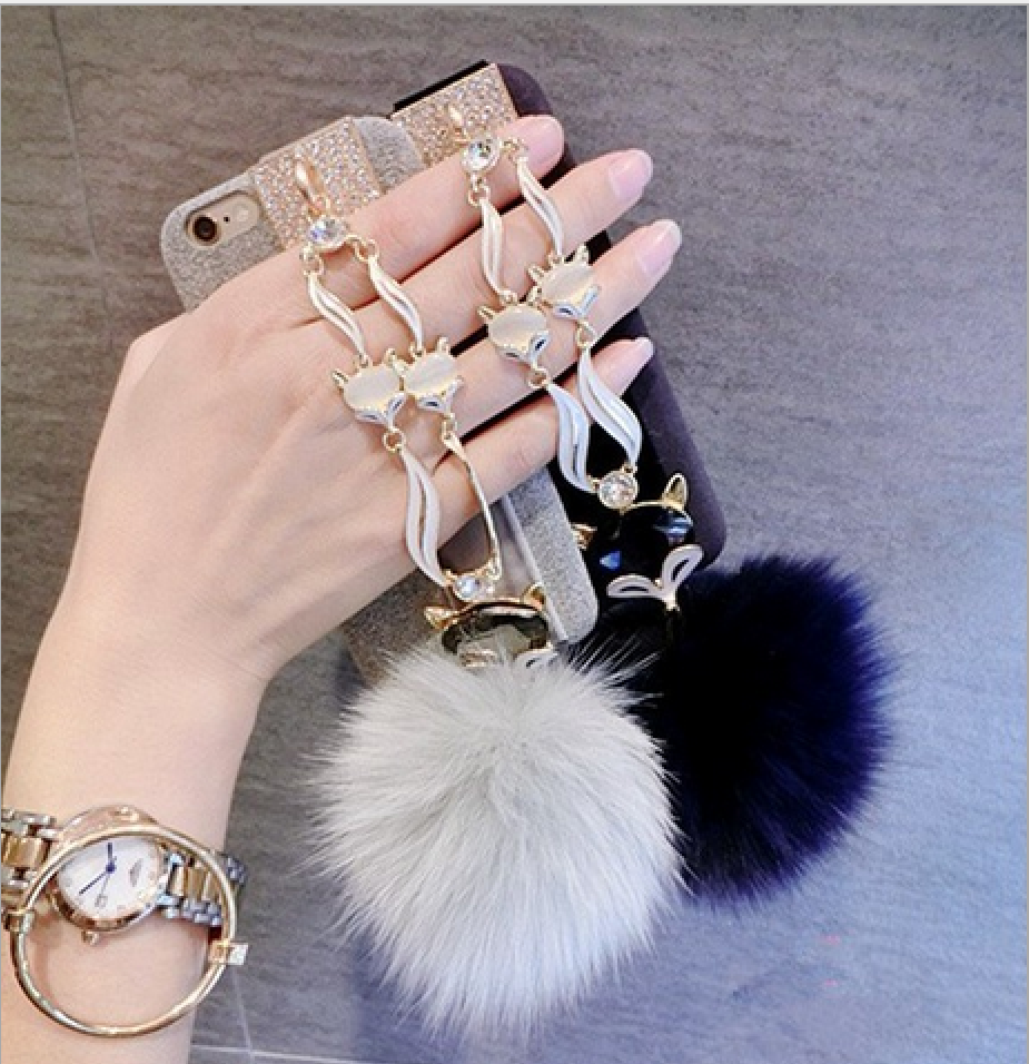 Latest Products Real Fox Fur Ball With Crystal Chain Phone Case Bulk Buy From China For iPhone 7