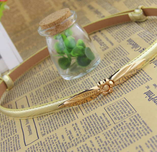 S11410A 2015 hot selling gold leaves buckle hot fashion lady slimming belt