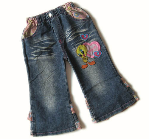 New arrivals free shipping girl's spring and autumn clothing 100% cotton fashionable casual jeans for 2-7 years whole and retail