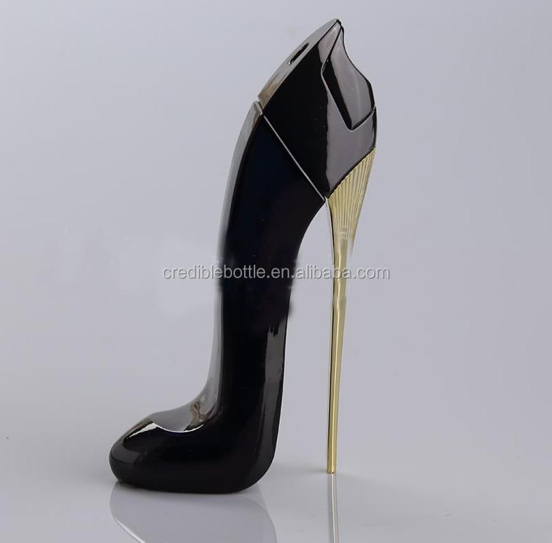 30ml Azul Zapatos De Tacón Alto De Forma De Botella De Perfume De Vidrio Negro Con Tapa Y Pulverizador Buy Botella De Perfume Con Forma De Tacón