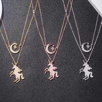 AP22576 wholesale 925 sterling silver pony animal initial chain necklace Dropshipping