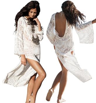 5dfb82448e women dresses summer Vintage Boho Style Lace Crochet White Long Sleeve Maxi  Dresses