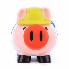 Hot Sale Eco-friendly Material PVC Cute Pig Shape Coin Box for Kids