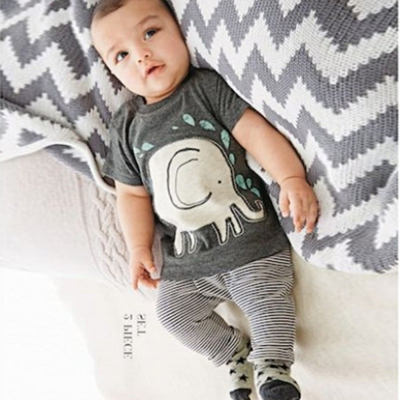 2PCS Toddlers Baby Boys Suits Elephant Print Tops Shirt Long Pants Outfits Infant Clothes
