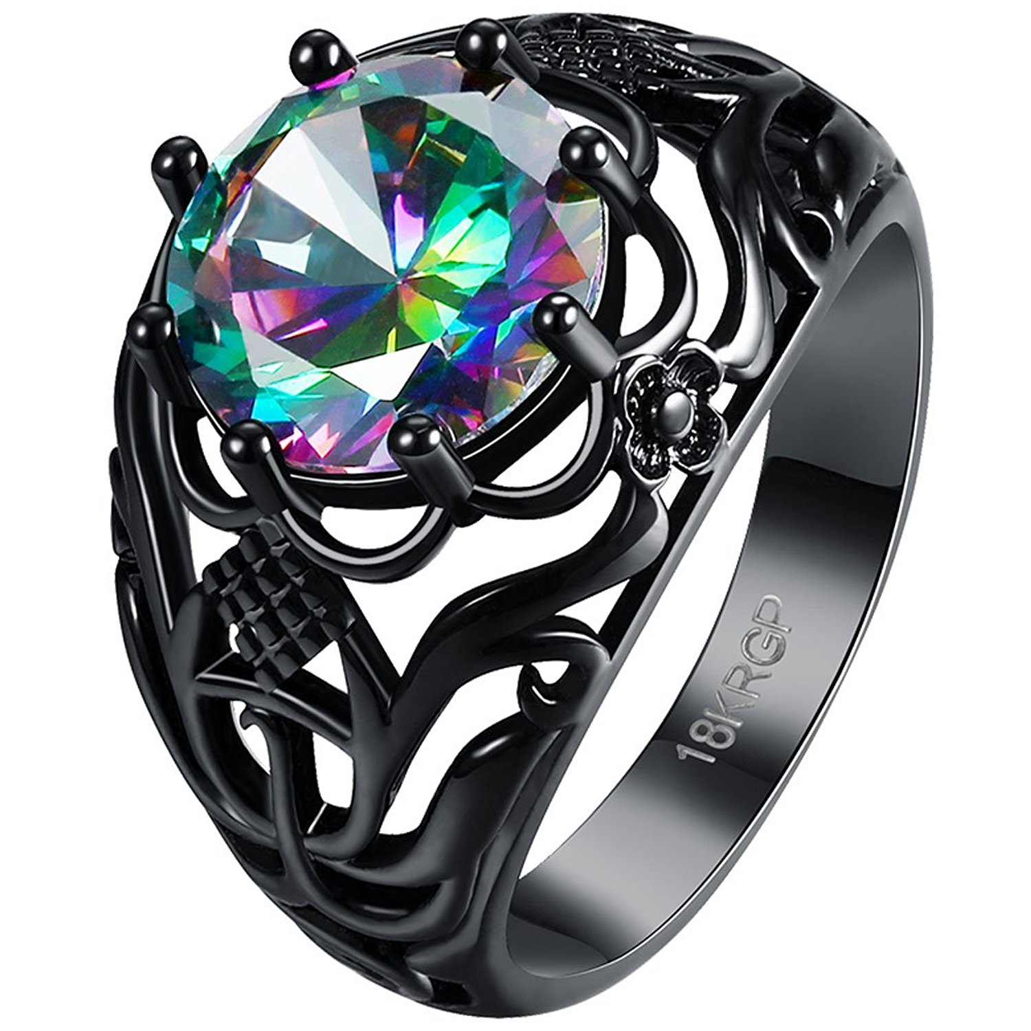 BOHG Jewelry Womens Round Cut Black Gold Plated Mystic Flower Big Rainbow Topaz Solitaire Ring Wedding