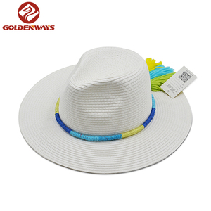 Best selling white paper straw panama hat multi band with tassels around hat