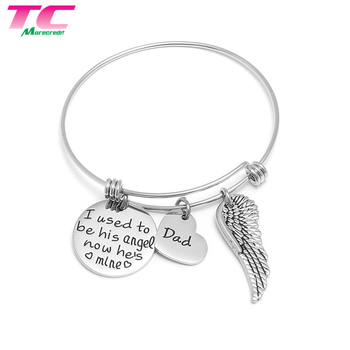 Factory Custom Adjustable Round Tag Wing Charm Man Bangle Bracelet For Dad