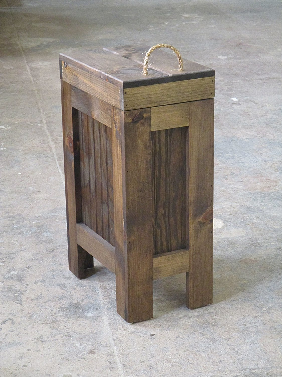 Wood Trash Can Kitchen Garbage Can,Rustic Wood Trash Bin,Colonial Pine w//Rope