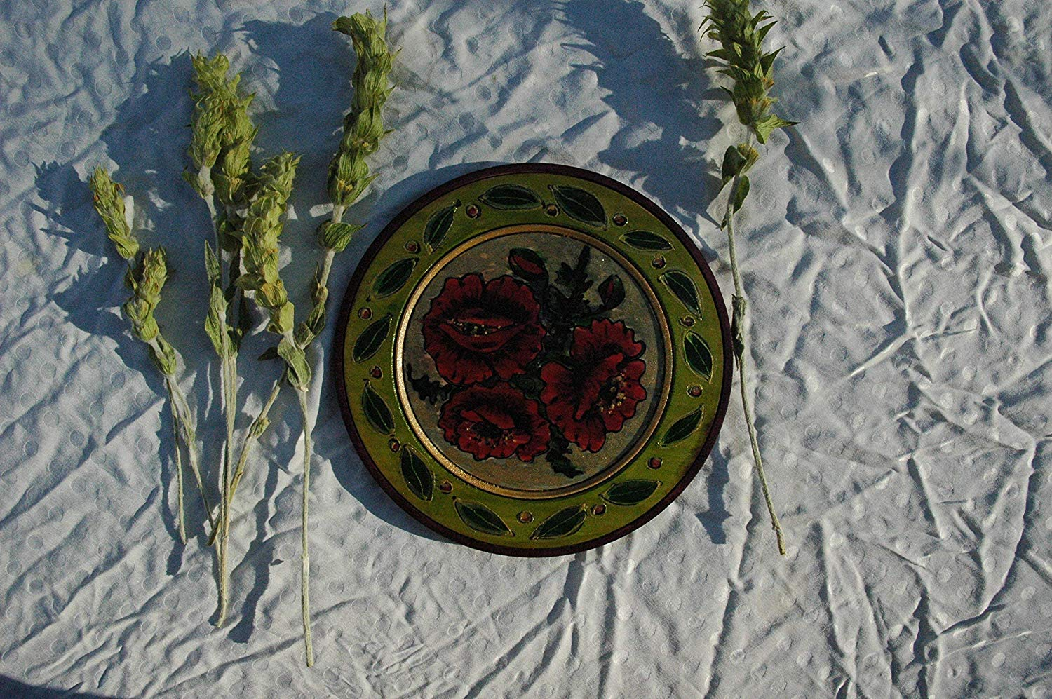 Sale!!!10% Off,Hand Painted Red Poppies on Wooden Plate, Wooden Souvenir Plate, Poppies Flower, Wood Bowl, Handpainted Bowl Plate, Wall Hanging Plate, Floral Plates.