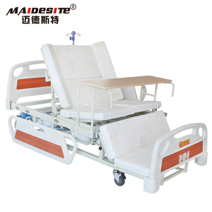 Home use elderly care adjustable medical hospital bed with toilet