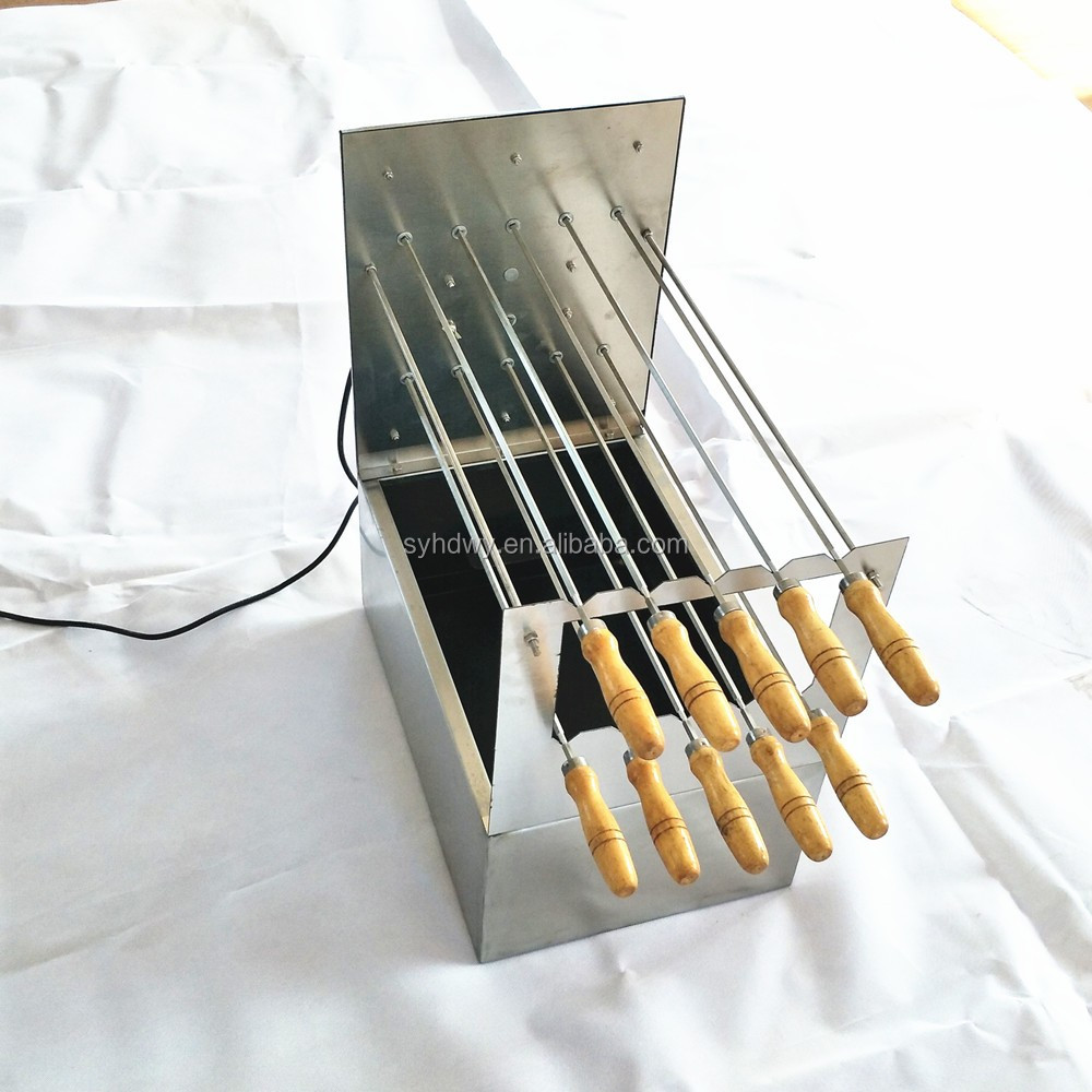 Large charcoal brazilian Argentina BBQ barbecue rotisserie grill with lid for commercial restaurant