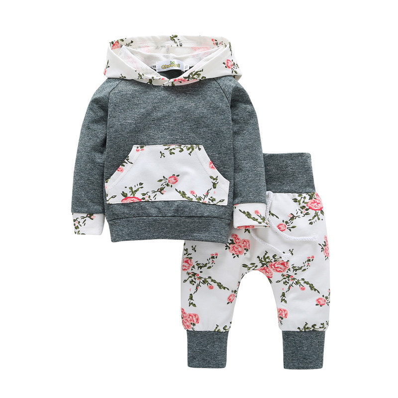 Floral sleeve hoodie with haren legging kids street wear winter baby clothing sets