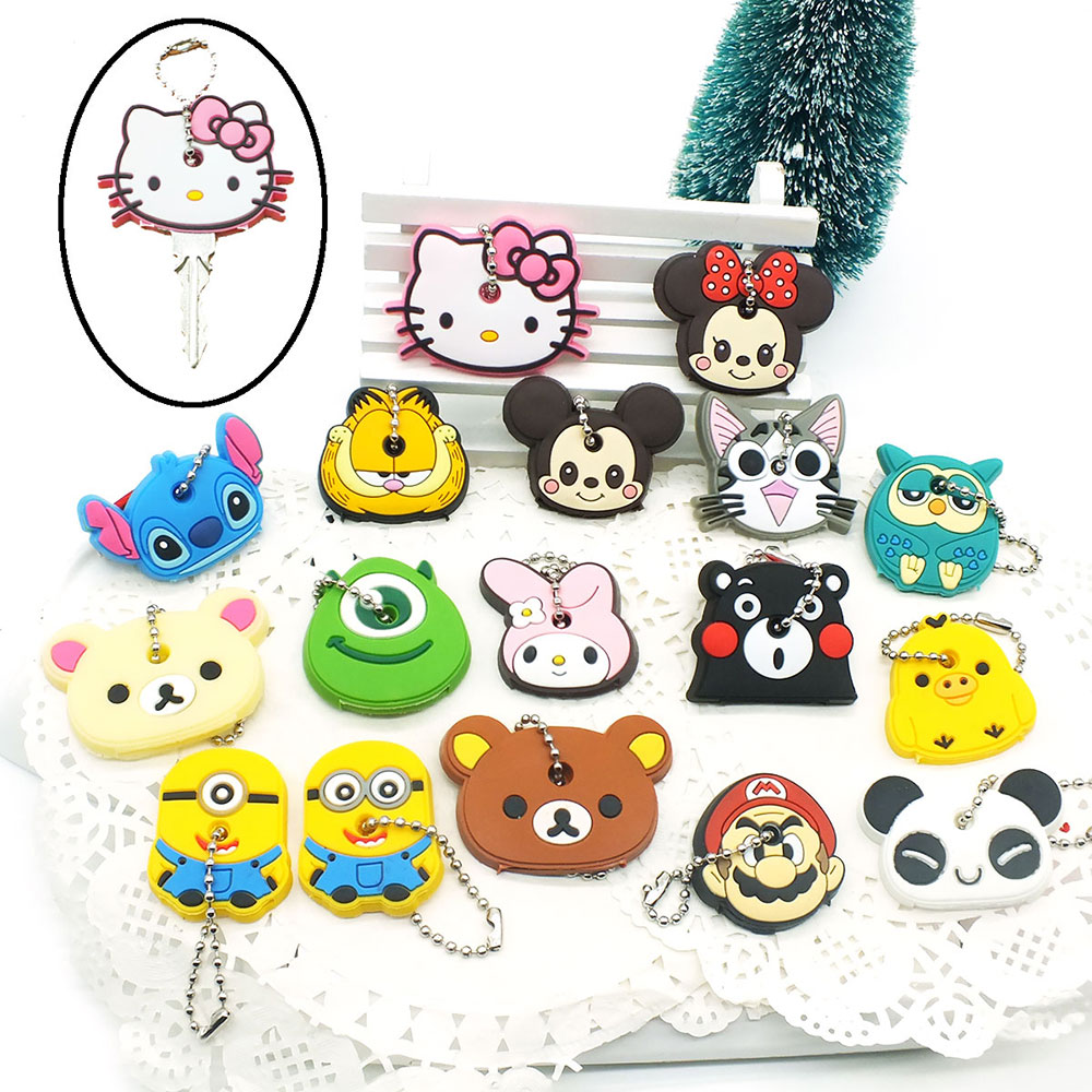 0d6267d86df74 Anime Silicone Key Cap Cat Minion Key Chain Women Bag Charm Key Holder  Mickey Key Ring Owl Keychain Hello Kitty Stitch Key Cover - Buy Hello Kitty  Key ...